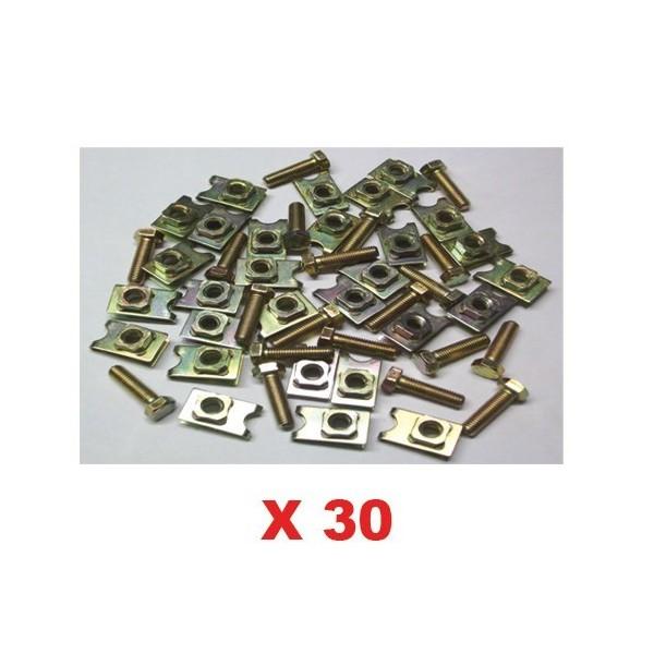 Ecrou cage + vis x30 (fixation caisse) 2cv mehari dyane ami